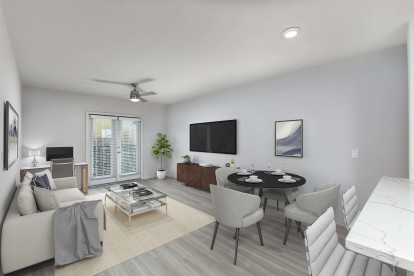 Living and dining room with space to work from home