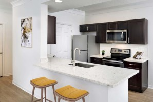 Kitchen with quartz countertops stainless steel appliances glass cooktop and undermount sink