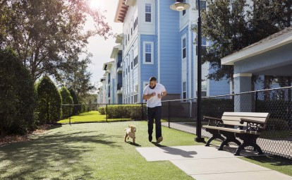 Pet friendly community with dog park and spa