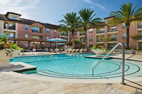 Resort style pool with sundeck