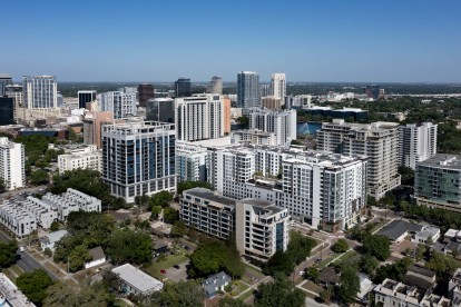 Aerial view of Camden Lake Eola and surrounding area.