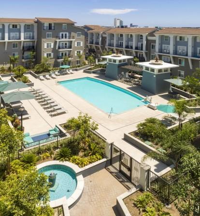Pool fountain view
