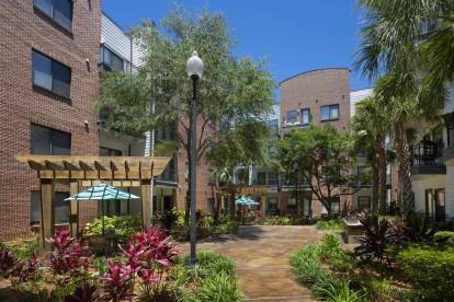 Zen courtyard with outdoor grills