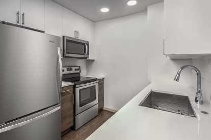 Kitchen with large refrigerator