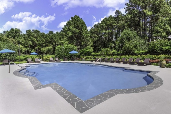 Pool with sundeck surrounded by beautiful trees
