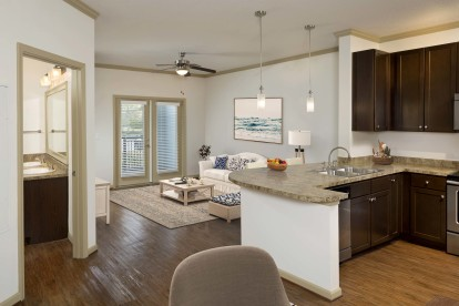 Large kitchen and living room with patio
