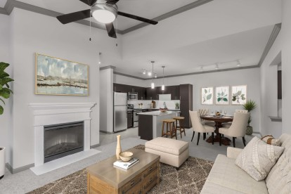 Open concept living dining kitchen