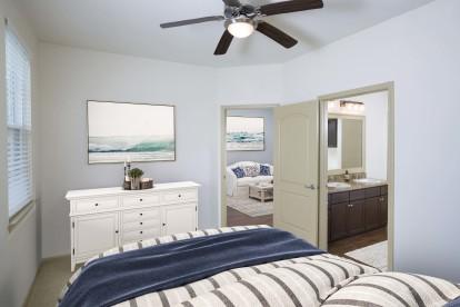 Bedroom and bathroom with double sink vanity