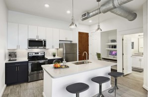 Contemporary style kitchen quartz countertops herringbone backsplash