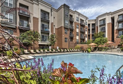 Resort style outdoor pool daytime