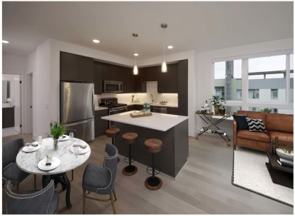 Open concept floor plan with kitchen island