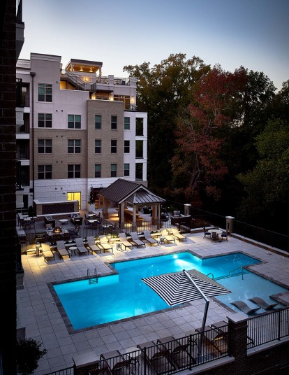 Outdoor pool nightime view