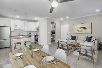 Open concept dining and living room