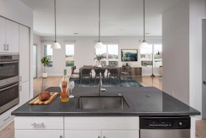 Penthouse kitchen with double ovens island with undermount sink and pendant lighting