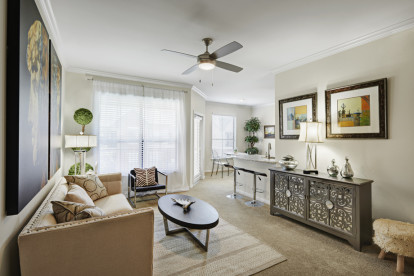 Contemporary-style living room at Camden Farmers Market Apartments in Dallas, TX