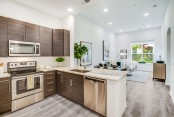 Kitchen open concept living natural light tall ceilings