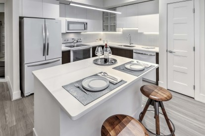 Ice white design scope kitchen island with seating