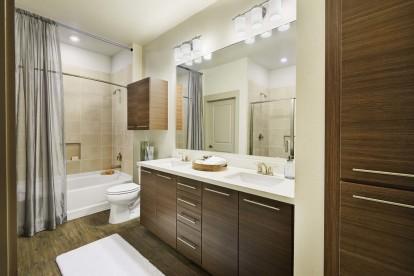 Model bathroom dual sinks