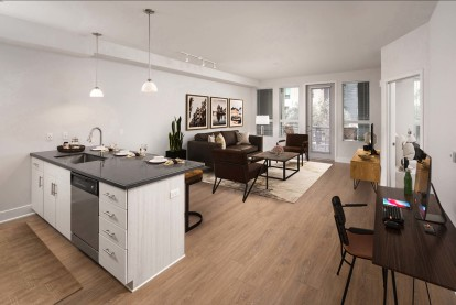 Kitchen and living area with space to work from home