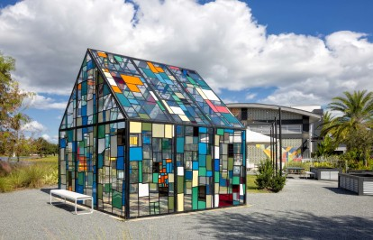 Lake nona stained glass house art installation by tom fruin