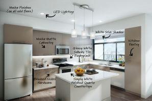 Mocha finishes with open concept kitchen, quartz countertops, pendant lighting.