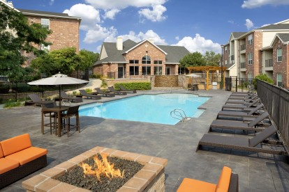 Swimming pool outdoor fire pit