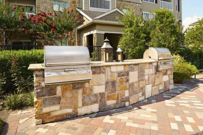 Outdoor grills and dining areas