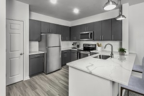 Kitchen quartz countertops and stainless steel appliances