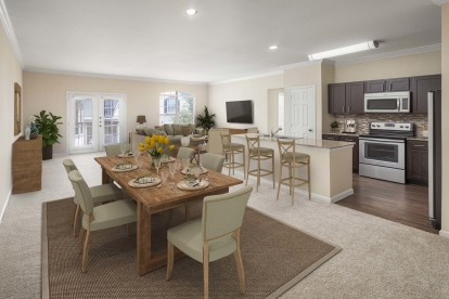Vista style open concept dining and living room with french doors to balcony carpet and wood look floors