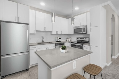 Kitchen with island and usb plugs