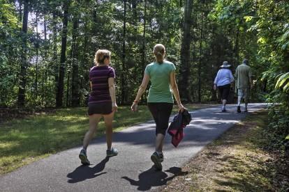 Adjacent to apex trail people walking