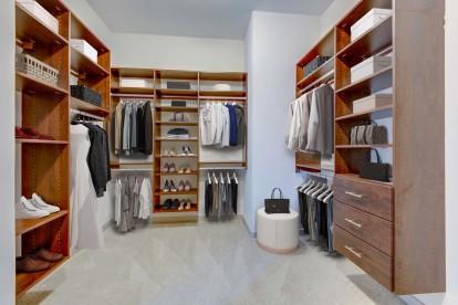 Camden Music Row Apartments Penthouse walk-in closet with custom shelves