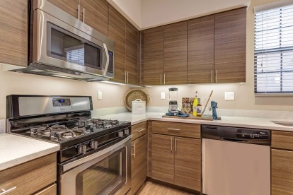 Kitchen with stainless steel appliances and white quartz countertops