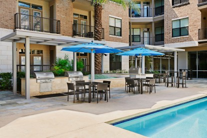 Poolside grills and outdoor dining