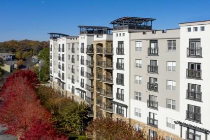 Modern gray exterior with juliette balconies