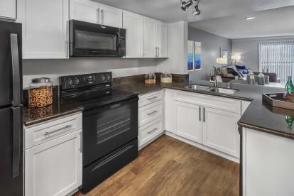 Kitchen with black appliances glass cooktop and undermount kitchen sink