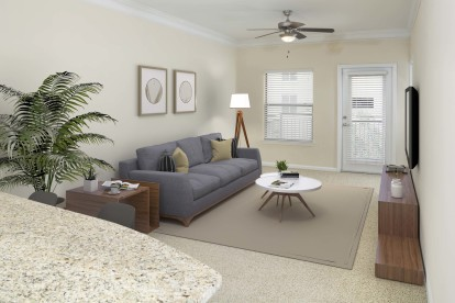 Living room with ceiling fan and private balcony