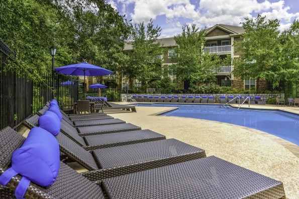 Resort style pool with expansive sundeck