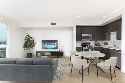 Open concept floor plan with floor to ceiling window