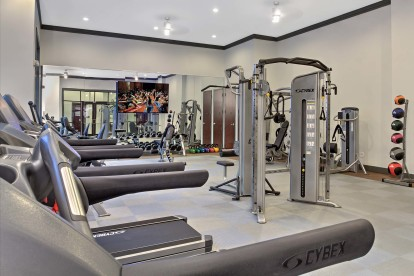 Fitness center with cardio equipment at Camden Gallery Apartments in Charlotte, NC