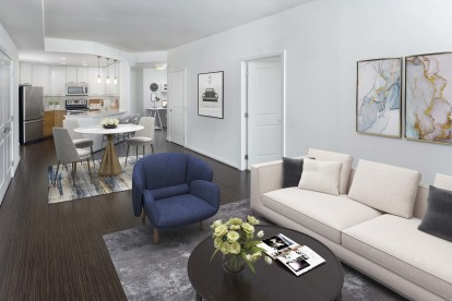 Open concept living with office space