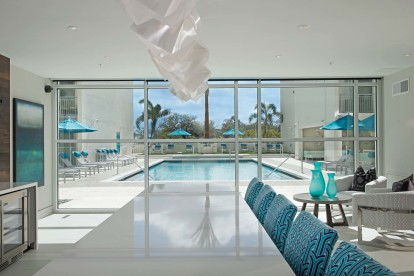 Resident lounge with pool view