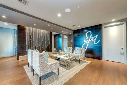 Resident spa room equipped with treatment rooms, pampering areas, manicure, pedicure, and hair styling stations