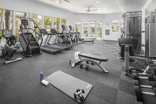 24 hour fitness center with dumbbells weight machines stretching area and cardio machines