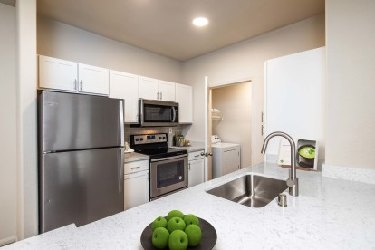 Kitchen stainless steel appliances and laundry room full size washer and dryer