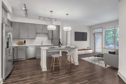 Open concept kitchen living grey design scope