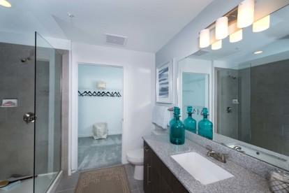 Bathroom with glass door shower and walk in closet