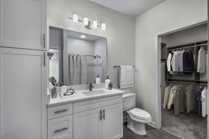 Bathroom with white shaker cabinets and walk in closet