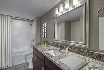 Bathroom with curved shower rod and bathtub