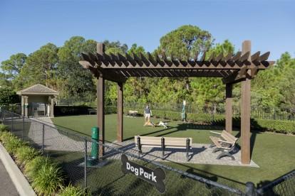 Dog park with dog wash and seating pavilion